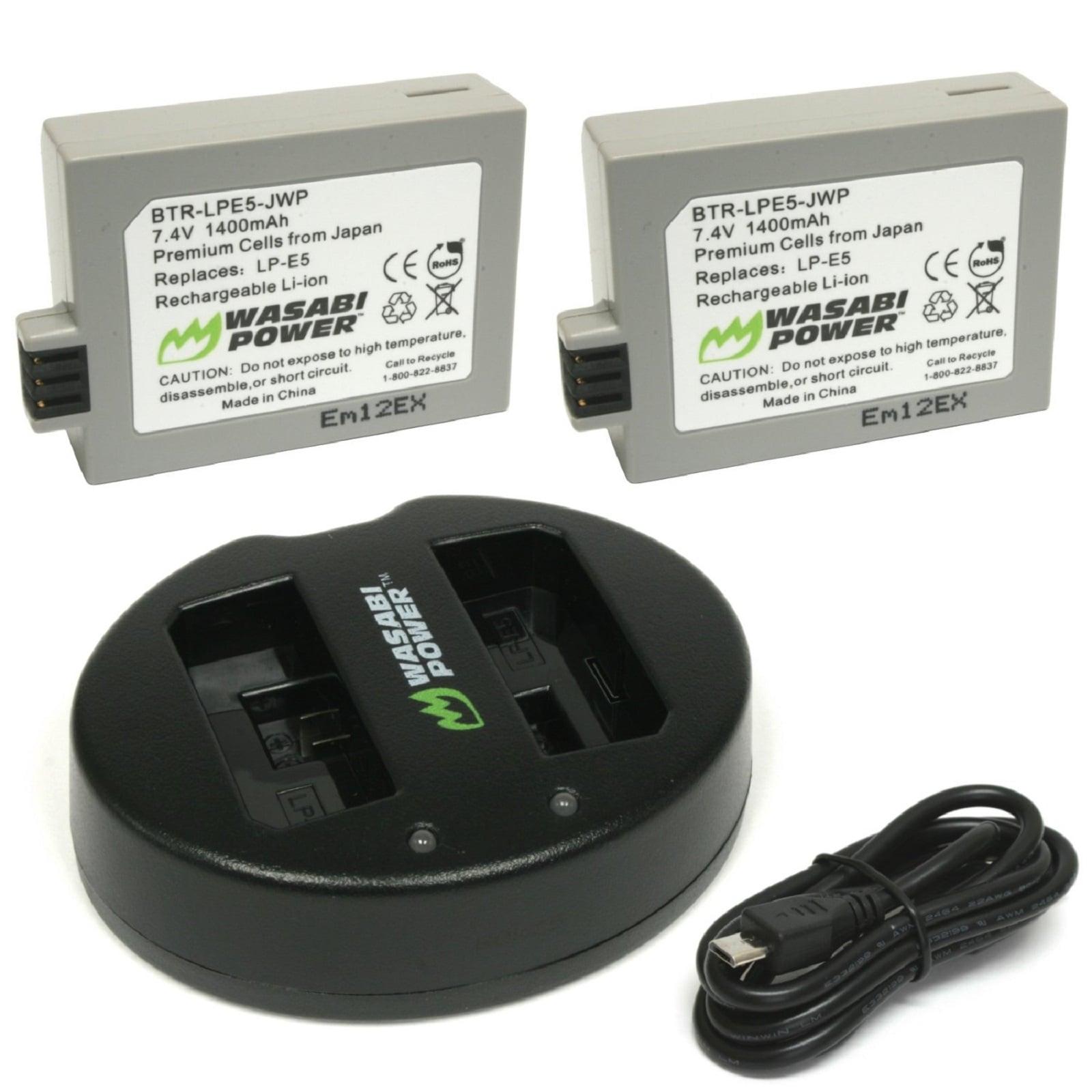 1500mAh LP-E5 LPE5 LP E5 LI-ION  Battery 2 pack /& Charger Kit for Canon EOS